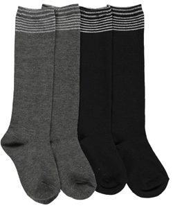 "French Toast Girls' ""Ribbed Glitter"" 2-Pack Knee-High Socks (Sizes 4 – 6) - CookiesKids.com"