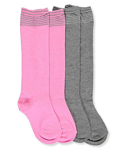 "Cookie's Brand Girls' ""Glitter Stripe"" 2-Pack Knee-High Socks (Sizes 4 –11) - CookiesKids.com"