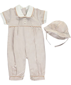 "Harry & Violet Baby Girls' ""Pintuck Pleat"" Coverall & Hat Set - CookiesKids.com"
