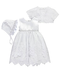 "S. Square Baby Girls' ""Intricate Brocade"" 3-Piece Christening Outfit - CookiesKids.com"