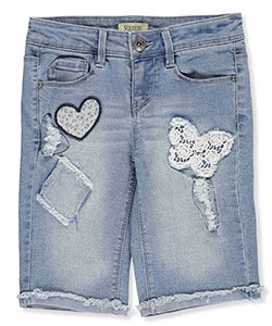 "Squeeze Big Girls' ""Vintage Patch"" Bermuda Shorts (Sizes 7 – 16) - CookiesKids.com"