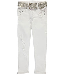 "Wallflower Little Girls' ""Trendy Glamour"" Belted Jeans (Sizes 4 – 6X) - CookiesKids.com"