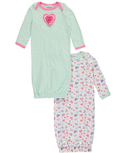 "Quiltex Baby Girls' ""Layered Heart"" 2-Pack Gowns - CookiesKids.com"