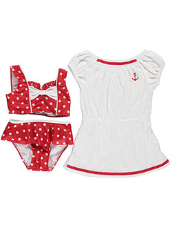 "Baby Buns Little Girls' ""Pretty Polka"" 3-Piece Swim Set (Sizes 4 – 6X) - CookiesKids.com"