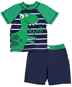 "Baby Buns Baby Boys' ""Dinosaur Stripes"" 2-Piece Swim Set - CookiesKids.com"