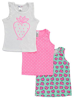 "Freestyle Revolution Little Girls' ""Strawberry Polka"" 3-Pack Tank Tops (Sizes 4 – 6X) - CookiesKids.com"