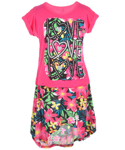 "One Step Up Little Girls' ""Tropical Love"" 2-Piece Outfit (Sizes 4 – 6X) - CookiesKids.com"