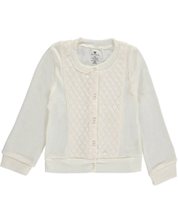 "One Step Up Little Girls' ""Quilt Front"" Cardigan (Sizes 4 – 6X) - CookiesKids.com"