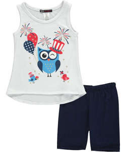 "Miss Majesty Little Girls' ""Patriotic Owl"" 2-Piece Outfit (Sizes 4 – 6X) - CookiesKids.com"