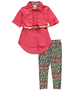 "One Step Up Little Girls' Toddler ""Ruffled Glamour"" 2-Piece Outfit (Sizes 2T – 4T) - CookiesKids.com"