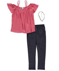 "Insta Girl Big Girls' ""Off-The-Shoulder Stripes"" 2-Piece Outfit with Necklace (Sizes 7 – 16) - CookiesKids.com"