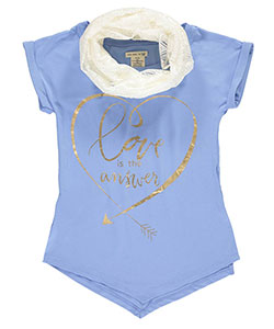 "One Step Up Big Girls' ""Love Is the Answer"" T-Shirt with Scarf (Sizes 7 – 16) - CookiesKids.com"