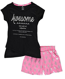 "One Step Up Little Girls' ""Definition of Awesome"" 2-Piece Outfit (Sizes 4 – 6X) - CookiesKids.com"