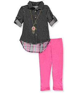One Step Up Little Girls' 2-Piece Outfit with Necklace (Sizes 4 – 6X) - CookiesKids.com