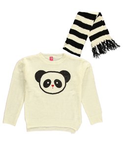 "Star Ride Little Girls ""Panda Pout"" Sweater with Scarf (Sizes 4 – 6X) - CookiesKids.com"