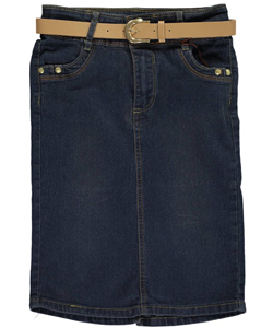 "No Fuze Big Girls' ""Sofia"" Denim Skirt (Sizes 7 – 16) - CookiesKids.com"