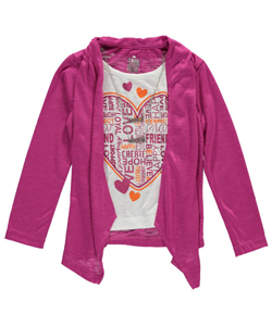 "Star Ride Little Girls' ""Ruched Overlay"" L/S Top with Necklace (Sizes 4 – 6X) - CookiesKids.com"