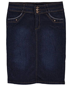 "No Fuze Big Girls' ""Fan Pleat"" Belted Denim Skirt (Sizes 7 – 16) - CookiesKids.com"