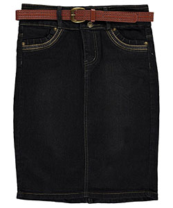 "No Fuze Big Girls' ""Zigzag Stitch"" Belted Denim Skirt (Sizes 7 – 16) - CookiesKids.com"