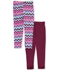 "Star Ride Little Girls' ""Solid & Chevron"" 2-Pack Leggings (Sizes 4 – 6X) - CookiesKids.com"