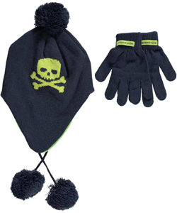 "Weatherproof Boys ""Skull & Crossbones"" 2-Piece Winter Accessories Set (Youth One Size) - CookiesKids.com"