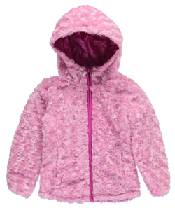 "Steve Madden Little Girls' ""Swirl Plush"" Reversible Insulated Jacket (Sizes 4 – 6X) - CookiesKids.com"