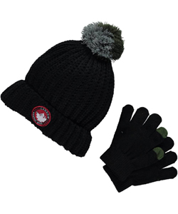 "Canada Weather Gear ""Circle Badge & Cable"" 2-Piece Winter Accessories Set (Youth One Size) - CookiesKids.com"