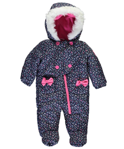 "U.S. Polo Assn. Baby Girls' ""Tinsel Daisies"" 1-Piece Snowsuit - CookiesKids.com"