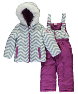 "U.S. Polo Assn. Baby Girls' ""Chevron Contrast"" 2-Piece Snowsuit - CookiesKids.com"