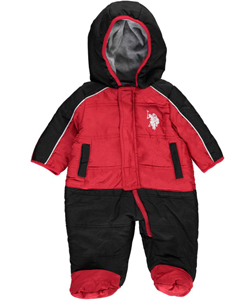 "U.S. Polo Assn. Baby Boys' ""Piping Paneling"" 1-Piece Snowsuit - CookiesKids.com"