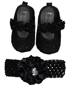 "Tendertoes Baby Girls' ""Lined Rosettes"" Headwrap and Booties Set - CookiesKids.com"