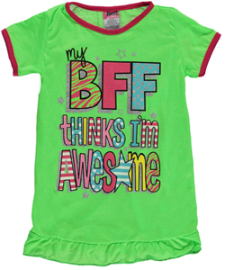 "Angel Face Little Girls' ""BFF Thinks I'm Awesome"" Nightgown (Sizes 4 – 6X) - CookiesKids.com"