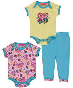 "Baby Paris Baby Girls' ""Cupcake Party"" 3-Piece Layette Set - CookiesKids.com"