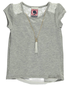 "Dream Girl Little Girls' ""Lacy Chiffon"" Top with Necklace (Sizes 4 – 6X) - CookiesKids.com"