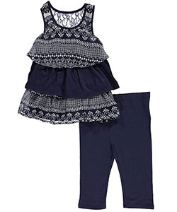 "Kidtopia Little Girls' Toddler ""Tiered Fleur de Lis"" 2-Piece Outfit (Sizes 2T – 4T) - CookiesKids.com"