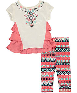 "Kidtopia Little Girls' Toddler ""Aztec Ruffles"" 2-Piece Outfit (Sizes 2T – 4T) - CookiesKids.com"