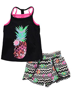 "Kidtopia Little Girls' ""Neon Pineapple"" 2-Piece Outfit (Sizes 4 – 6X) - CookiesKids.com"
