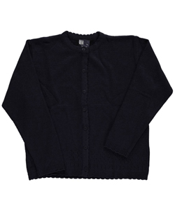 "T.Q. Knits Big Girls' ""Scalloped & Perforated"" Cardigan (Sizes 7 – 16) - CookiesKids.com"