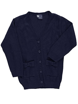 "T.Q. Knits Little Girls' Toddler ""Bowed Pockets"" Control-Pil 4-Button Cardigan (Sizes 2T – 4T) - CookiesKids.com"