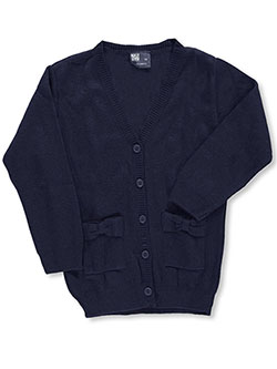 "T.Q. Knits Little Girls' ""Bowed Pockets"" Control-Pil 4-Button Cardigan (Sizes 4 – 6X) - CookiesKids.com"
