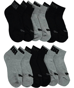 "Puma Boys' ""Ribbed & Textured Logo"" 6-Pack Quarter Crew Socks (Sizes 5 – 11) - CookiesKids.com"