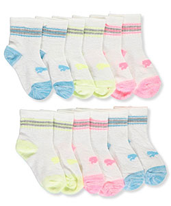 "Puma Baby Girls' ""Neon Stripe"" 6-Pack Quarter Crew Socks - CookiesKids.com"