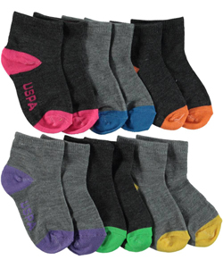 "U.S. Polo Assn. Baby Girls' ""Strikethrough Cuff"" 6-Pack Mini Crew Socks - CookiesKids.com"