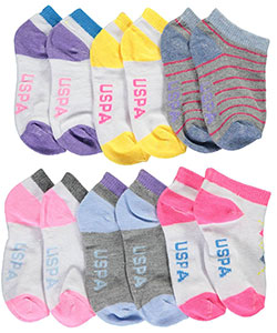 "U.S. Polo Assn. Baby Girls' ""Argyle Accent"" 6-Pack Low Cut Socks - CookiesKids.com"
