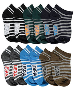 "U.S. Polo Assn. Baby Boys' ""Striped Logo"" 6-Pack Low Cut Socks - CookiesKids.com"