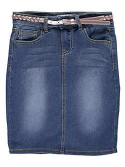 "V Gold Big Girls' ""Zalika"" Belted Denim Skirt (Sizes 7 – 16) - CookiesKids.com"