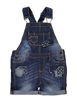 "Vigoss Little Girls' Toddler ""Heart Denim Patch"" Shortalls (Sizes 2T – 4T) - CookiesKids.com"