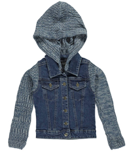 "Chillipop Little Girls' ""Knit Accent"" Hooded Jacket (Sizes 4 – 6X) - CookiesKids.com"
