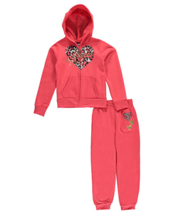 "Chillipop Big Girls' ""Leopard Heart"" 2-Piece Fleece Sweatsuit (Sizes 7 – 16) - CookiesKids.com"