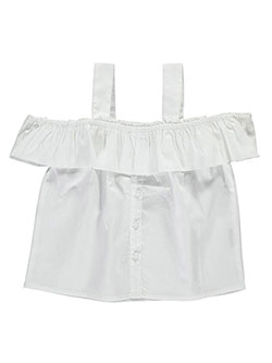 "Chillipop Big Girls' ""Flounce & Placket"" Cold Shoulder Top (Sizes 7 – 16) - CookiesKids.com"